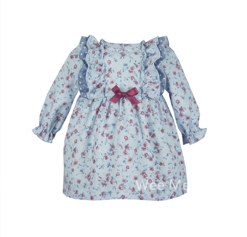 *SALE* Lovely Baby Girl Long Sleeve Blue Flower Print Spanish Dress